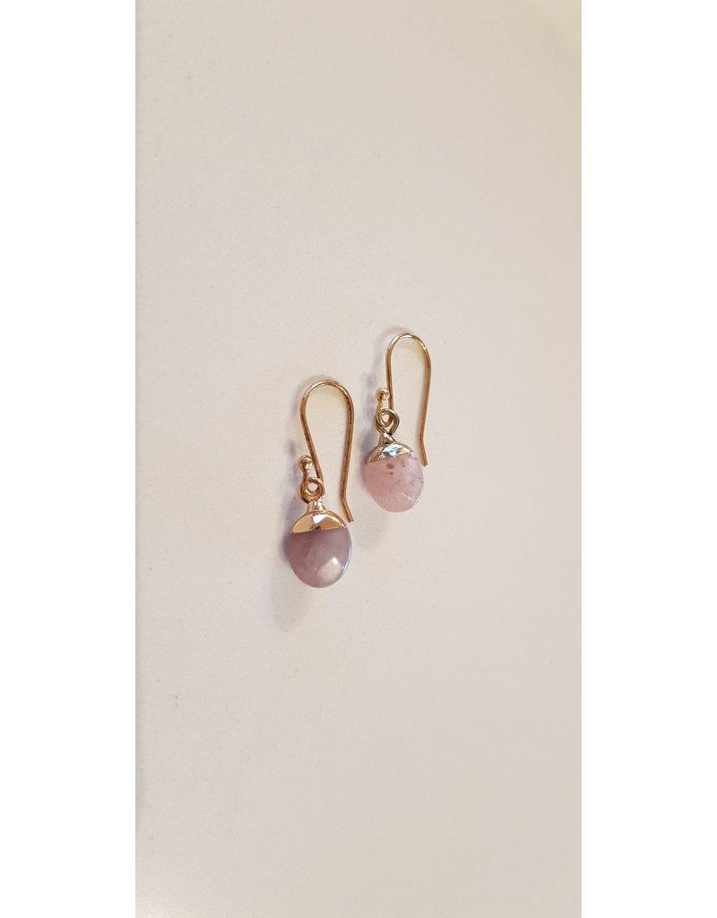 La Petite Rooze Oorhangers - goud met roze steen