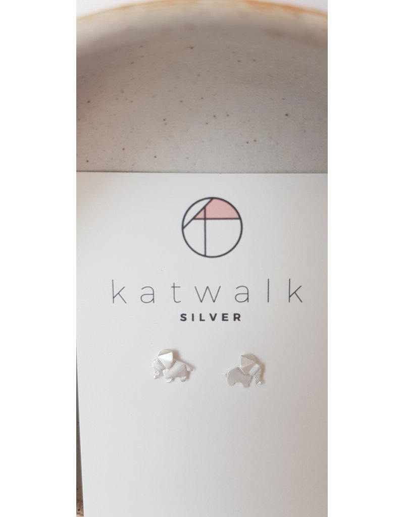 Katwalk Zilver Zilver oorstekers - Olifantje