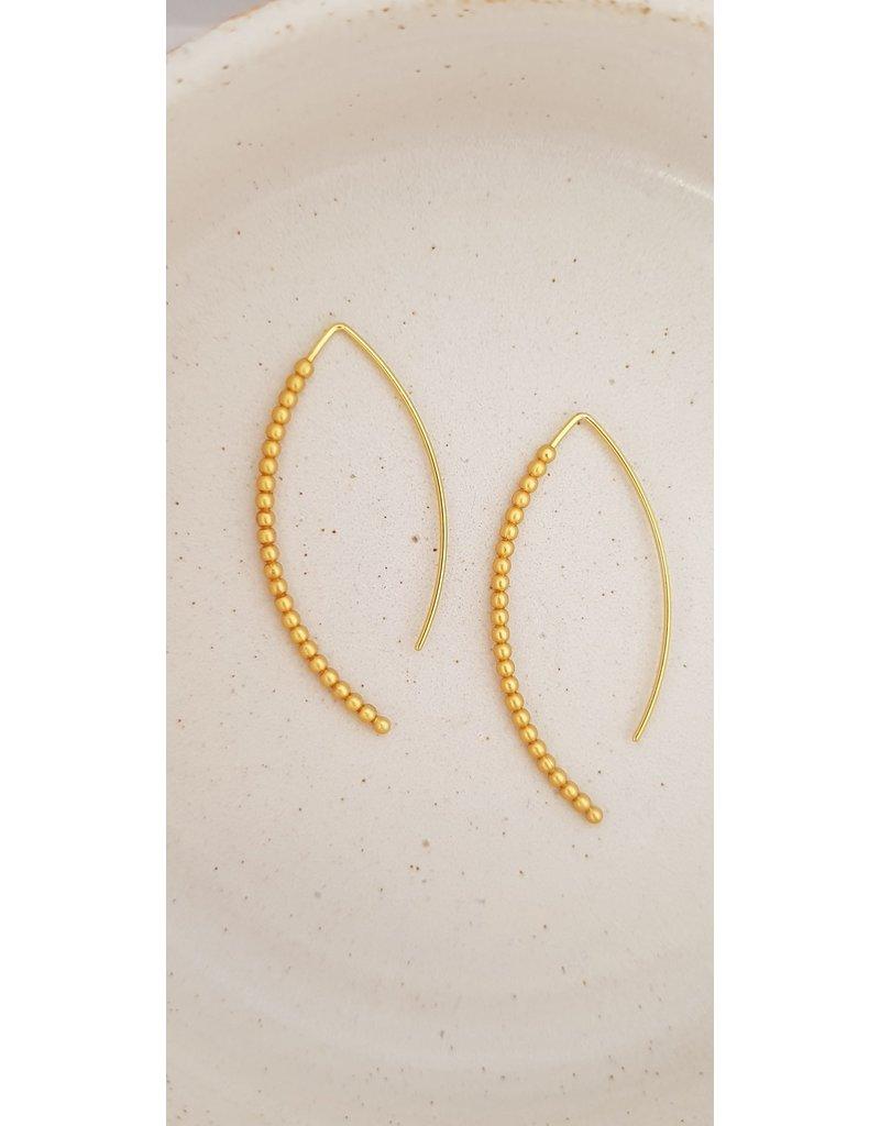 Katwalk Zilver Verguld zilver oorstekers met fijne kraaltjes