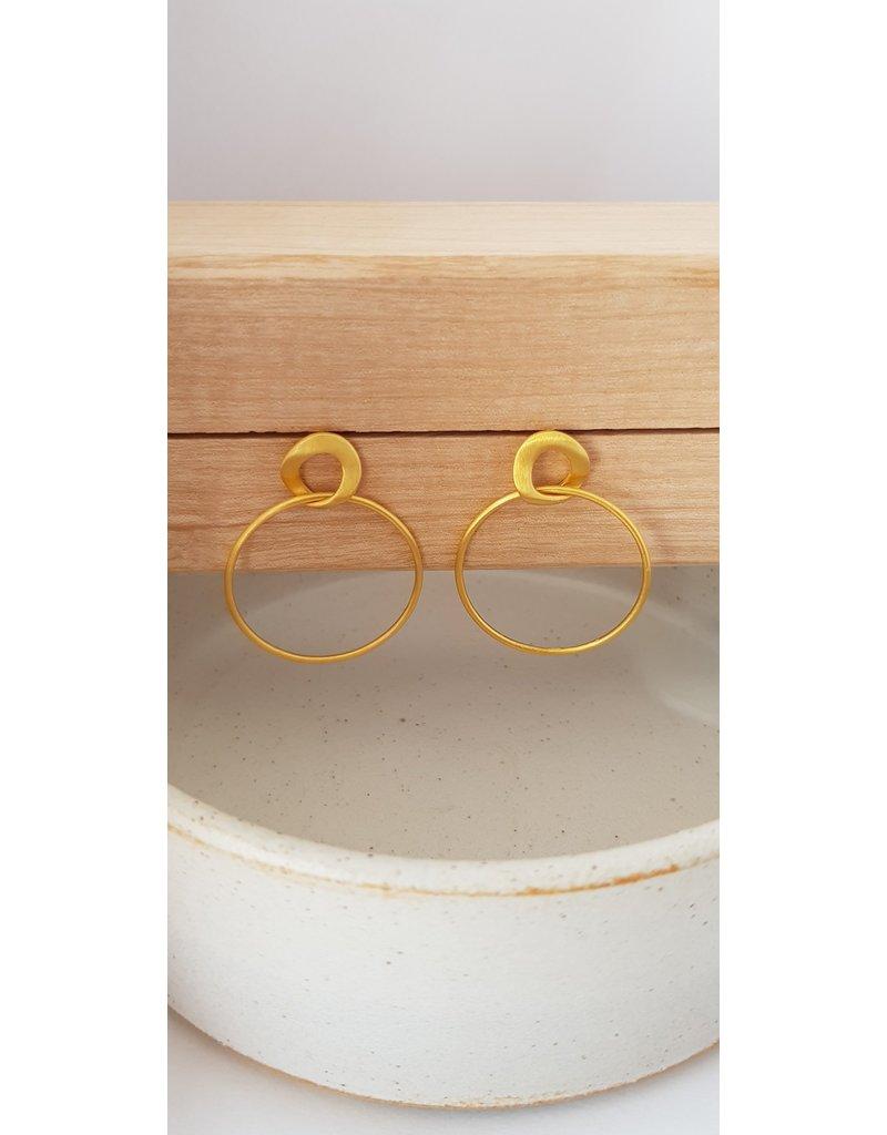 Katwalk Zilver Verguld zilver oorstekers - 2 cirkels