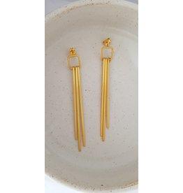 Katwalk Zilver Verguld zilver oorstekers - 3 lange staafjes in vierkant