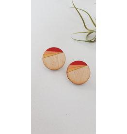 MonaLisa Juwelen Houten oorsteker 30 mm peach