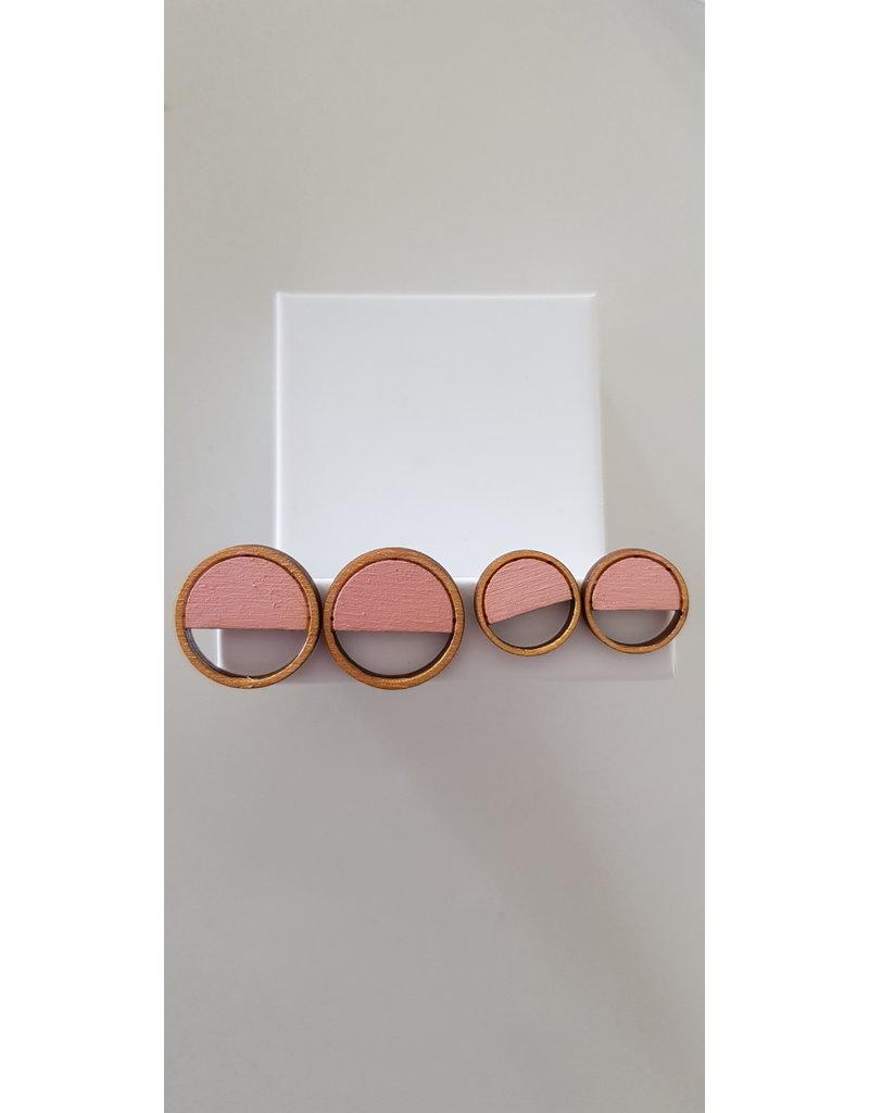 MonaLisa Juwelen Oorstekers 'Emptyfull' - goud-roze - 15mm