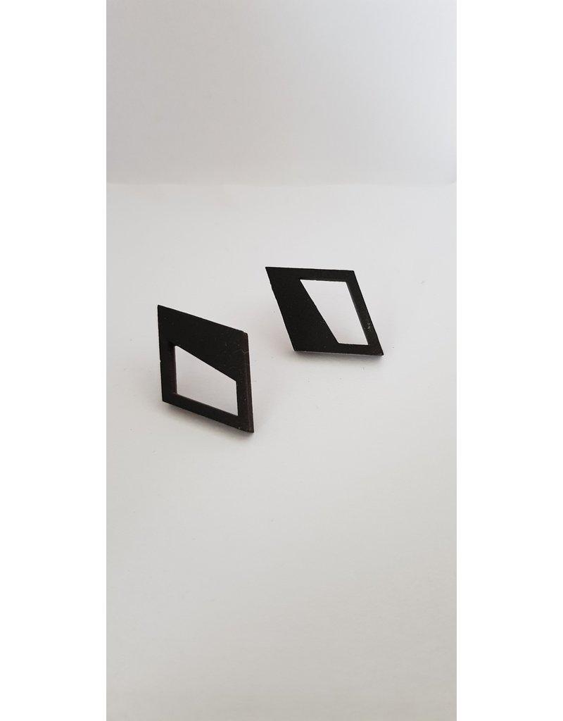 MonaLisa Juwelen Oorstekers 'Hope' - zwart goud - 29mm