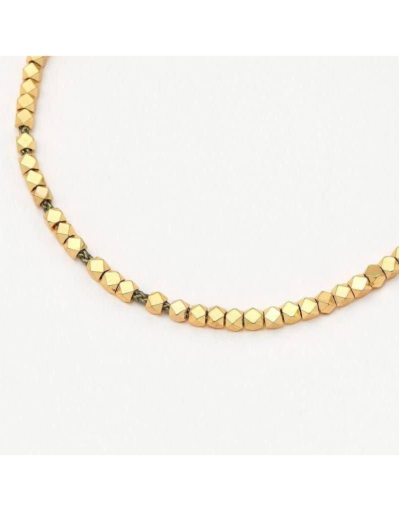 Estella Bartlett Armband - Coco BR Grey with Shiny Gold Beads