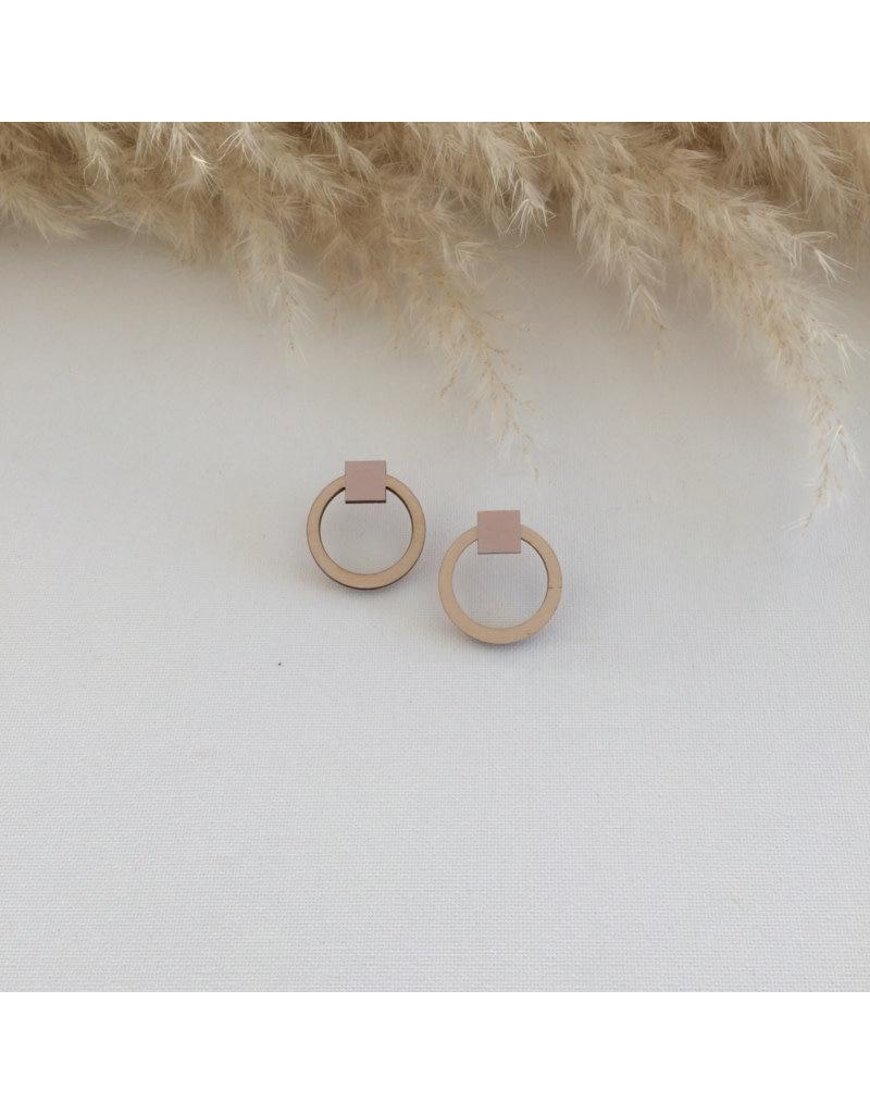 Woood Jewels Oorsteker hout - Circles - pink