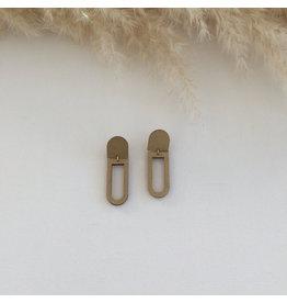 Woood Jewels Oorsteker hout - Paperclip -  gold