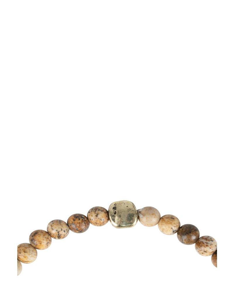 Zusss Armband met marmerkraaltjes - bruin