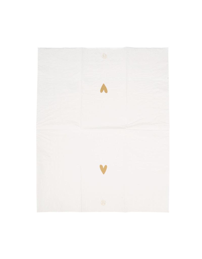 Zusss Servetten met gouden hartje - wit