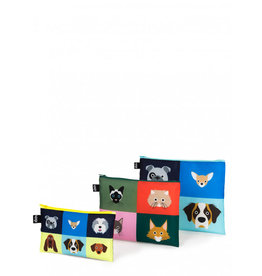 Loqi Zip Pockets Cats & Dogs - set 3 stuks