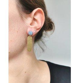 MonaLisa Juwelen Oorsteker klei - messing 'Lize'-metallic blauwgrijs