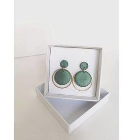 MonaLisa Juwelen Oorsteker klei -messing - 'Nona' -metallic dark green