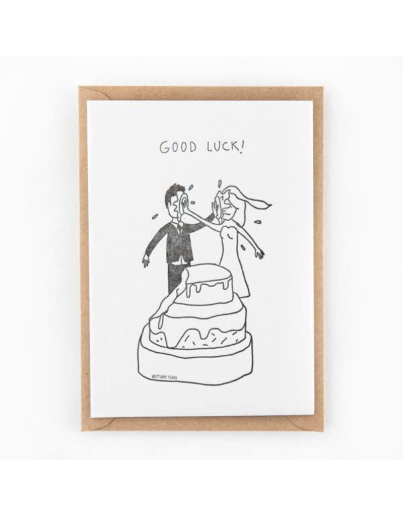STUDIOFLASH Kaart 'Good luck - wedding cake fight'
