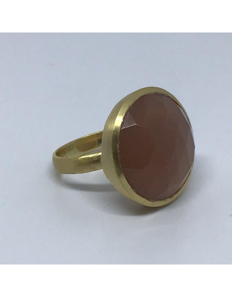 Katwalk Zilver Verguld zilver ring met steen - Honey moonstone