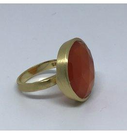 Katwalk Zilver Verguld zilver ring met steen - Cornaline