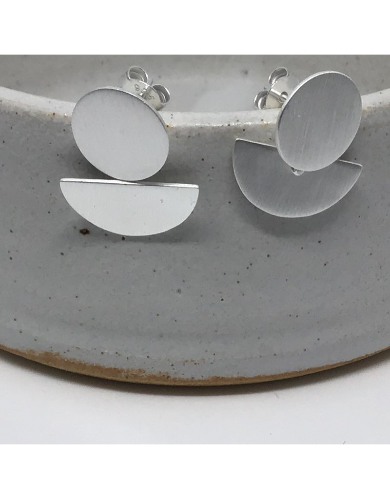 Katwalk Zilver Zilver oorstekers - rond/half moon