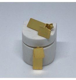Katwalk Zilver Verguld zilver oorsteker - 2 rechthoekjes overlap