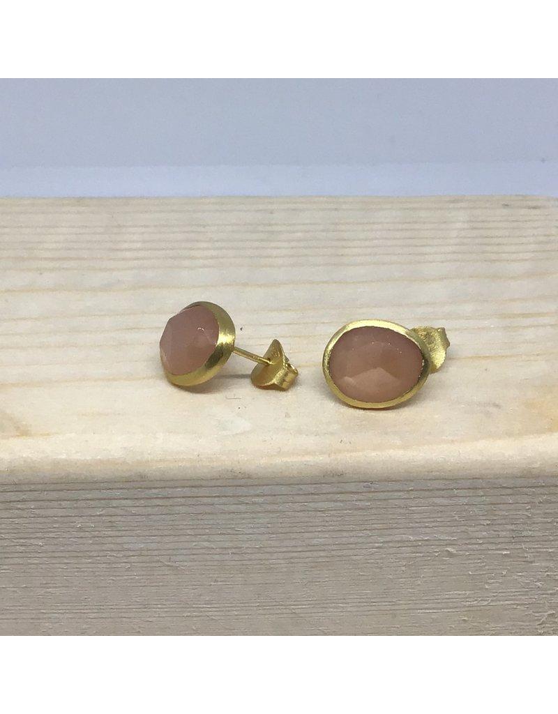 Katwalk Zilver Verguld zilver oorsteker - roze steen