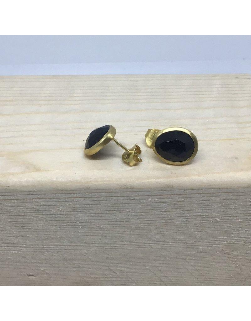 Katwalk Zilver Verguld zilver oorsteker - zwarte steen