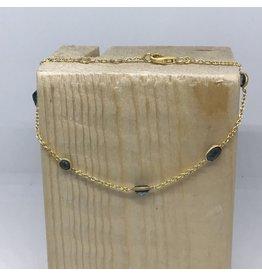 Katwalk Zilver Verguld zilver armbandje - blauwe steentjes