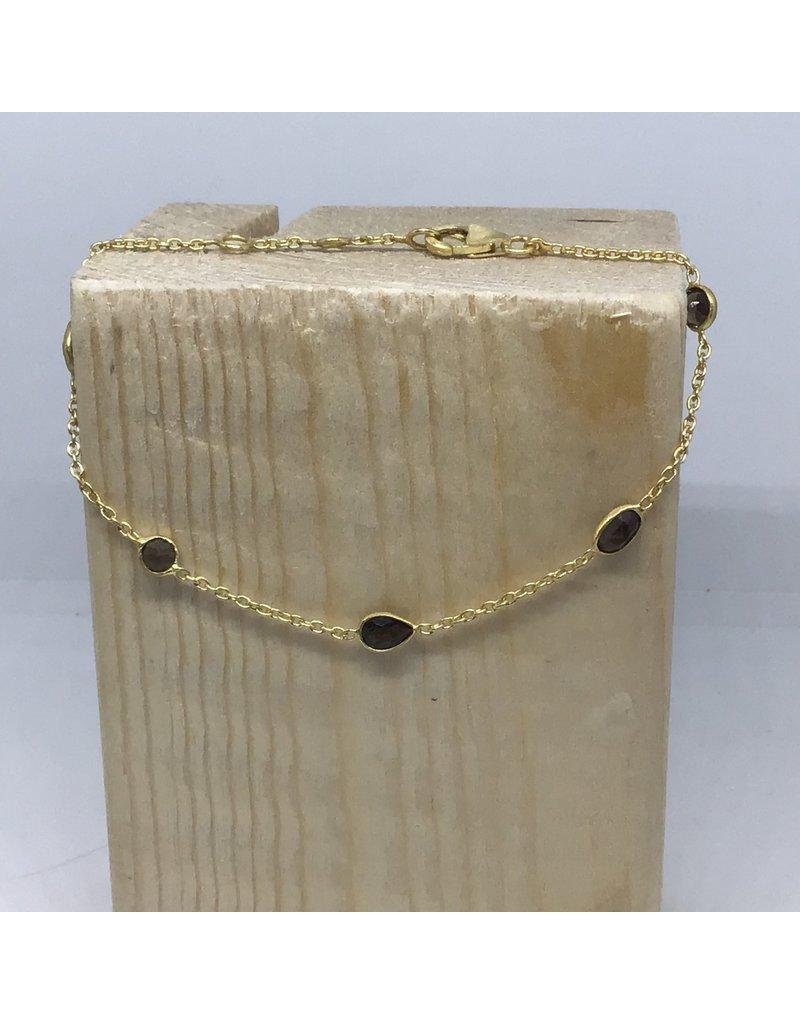 Katwalk Zilver Verguld zilver armbandje - bruine steentjes