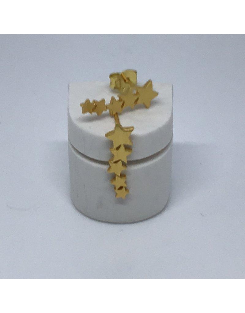 Katwalk Zilver Verguld zilver oorstekers - 5 sterretjes in rij