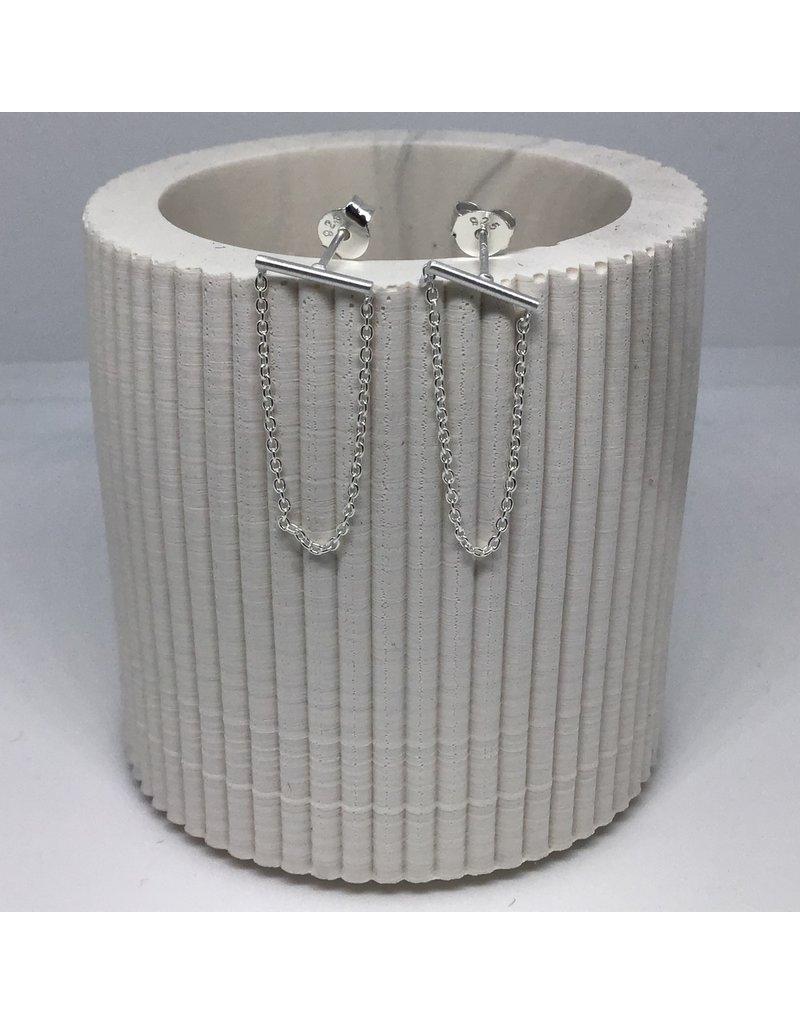 Katwalk Zilver Zilver oorstekers - staafje met ketting