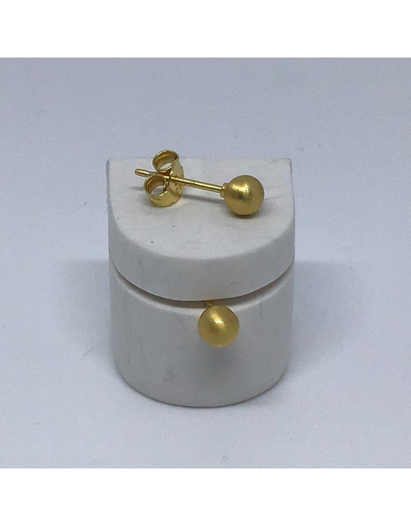 Katwalk Zilver Verguld zilver oorstekers - verguld pareltje
