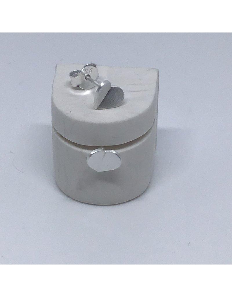 Katwalk Zilver Zilver oorstekers - origami hartje