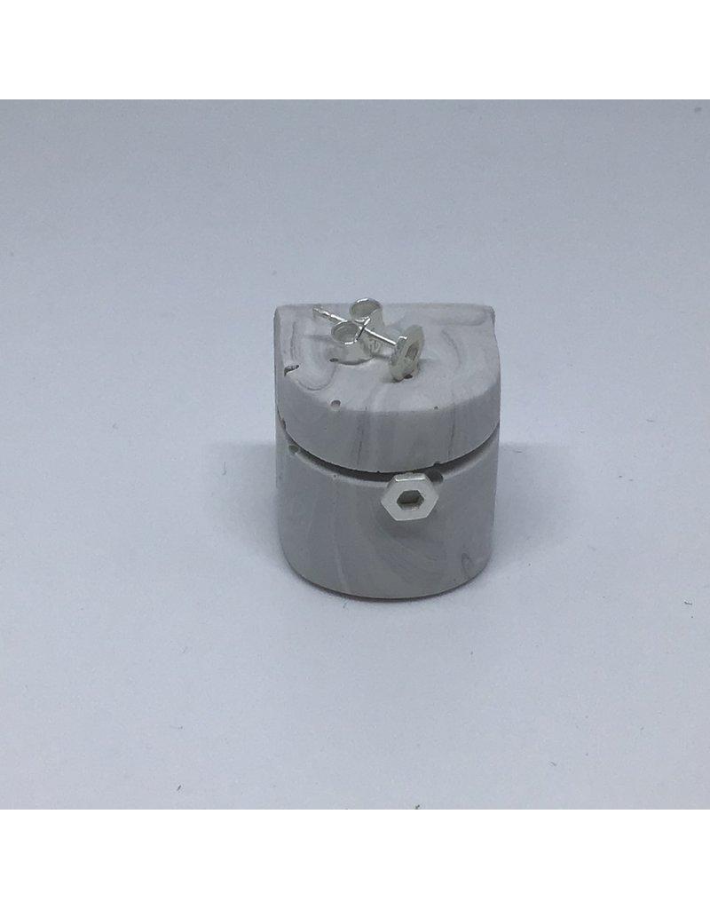 Katwalk Zilver Zilver oorstekers - open mini hexagon