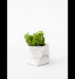 HOUSE RACCOON Mare planter - Medium - White marble d.5,5cm