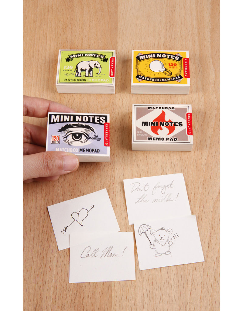 kikkerland Notitieblokje - matchbox (4 stuks)