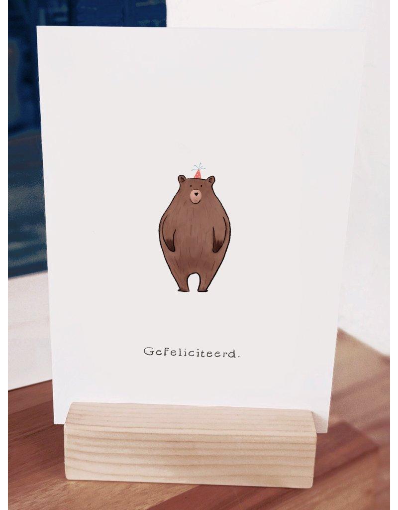 Pas de Susi Kaart Pas de Susi - Gefeliciteerd - beer met feesthoed