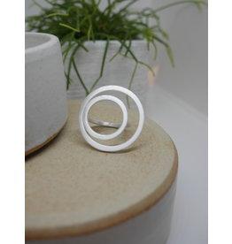 Katwalk Zilver Zilveren ring - vlak dubbel maat 56