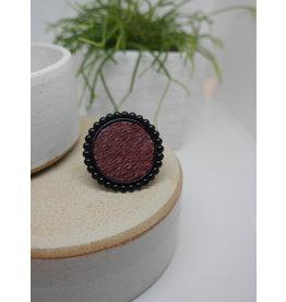 Maison Delclef Ring zalmleder wijnrood op rozet L