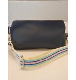 Maison Delclef Cross-body tasje donkerblauw - riem in lichtblauw-roze-donkerbl