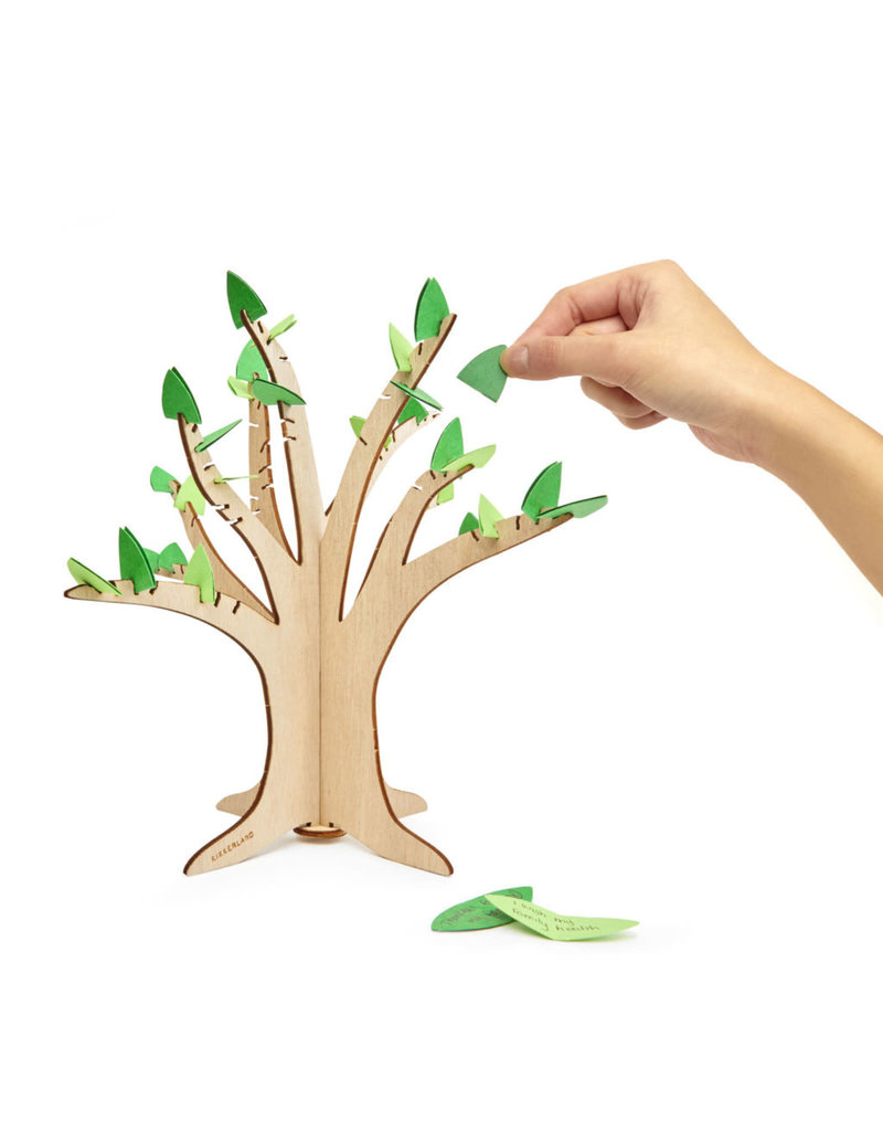 kikkerland 'Gratitude  tree' - Houten boom met persoonlijke boodschappen