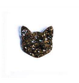 Les Petits Bisous Glitter Gold Cat Broche