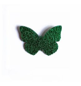 Les Petits Bisous Glitter Green Butterfly Broche
