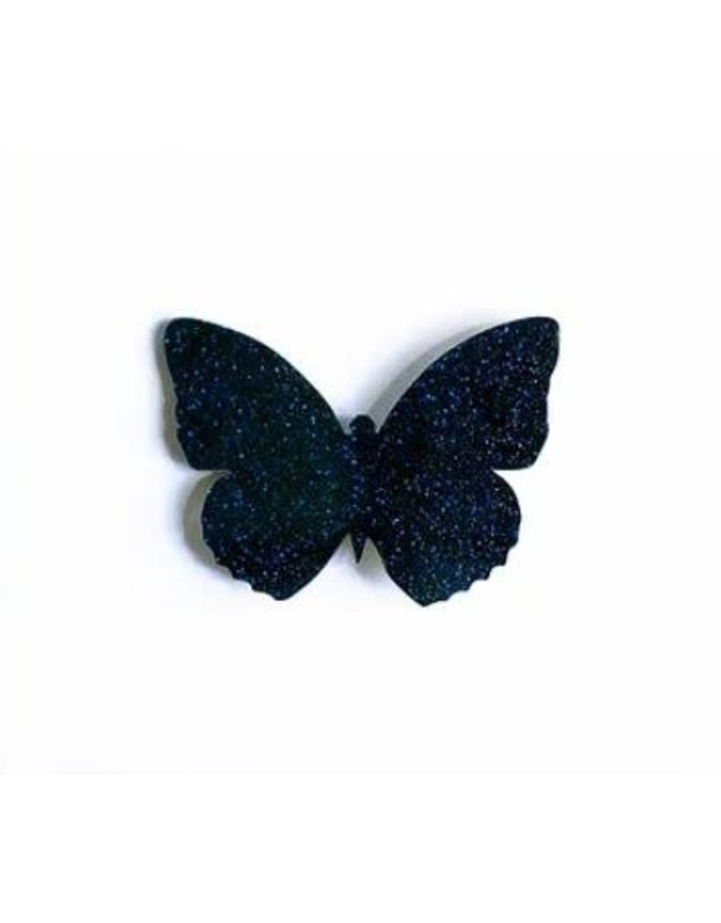 Les Petits Bisous Midnight-Blue Glitter Butterfly Broche