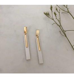 Woood Jewels Oorsteker Goud verguld - hout - Lisa white