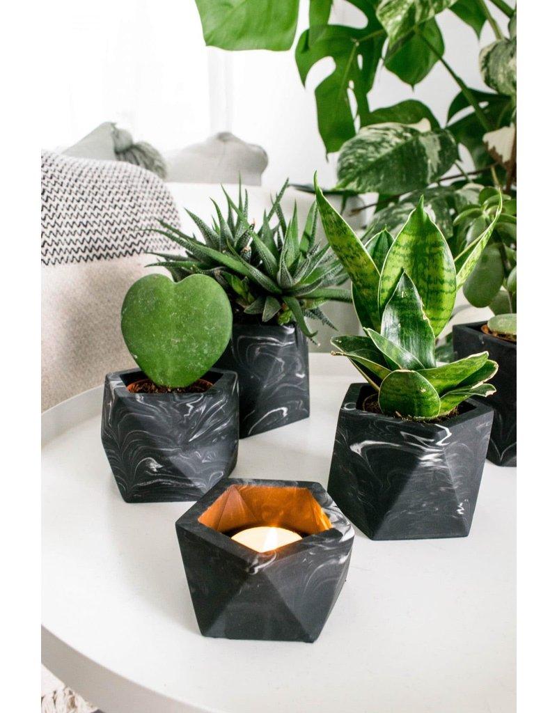 HOUSE RACCOON Mare planter - Medium -  black marble d.5,5cm