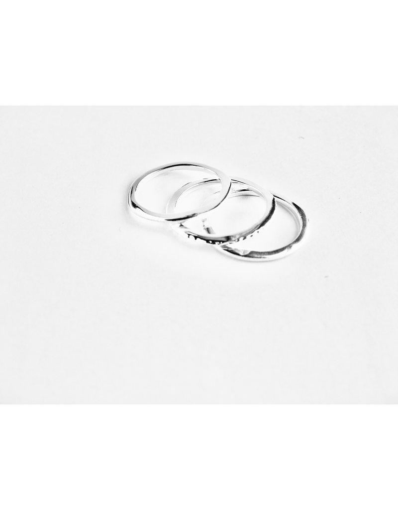 Katwalk Zilver Set van 3 vlakke zilveren ringen - maat 56