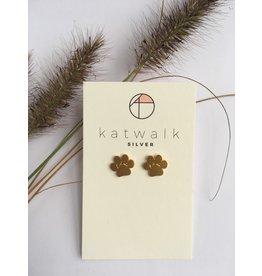 Katwalk Zilver Verguld zilver oorstekers - Hondenpootje
