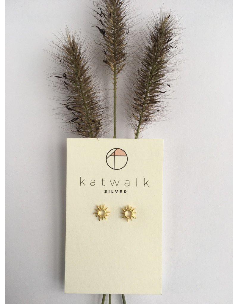 Katwalk Zilver Verguld zilver oorstekers - zonnetje open