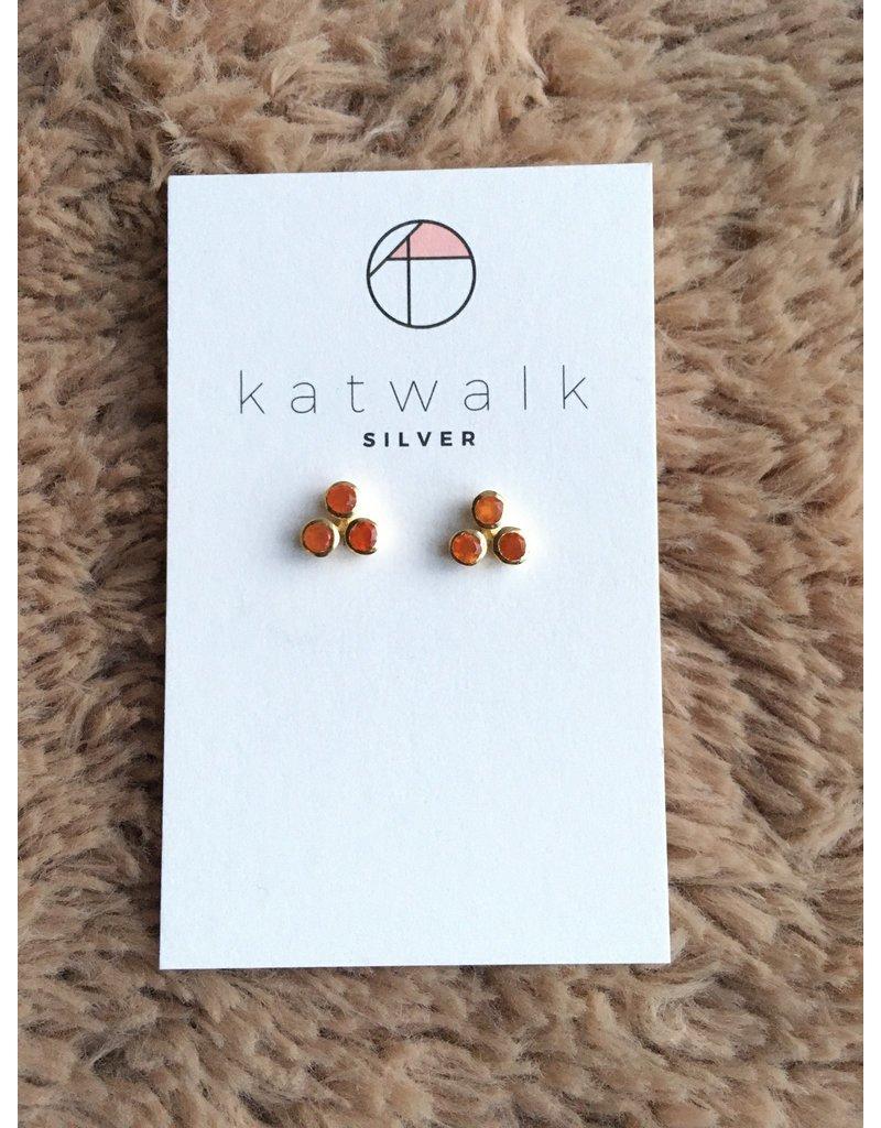 Katwalk Zilver Verguld zilver oorstekers - 3 stenen in rozet - oranje