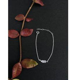 Katwalk Zilver Fijne zilver armband met blaadje - 16-19cm