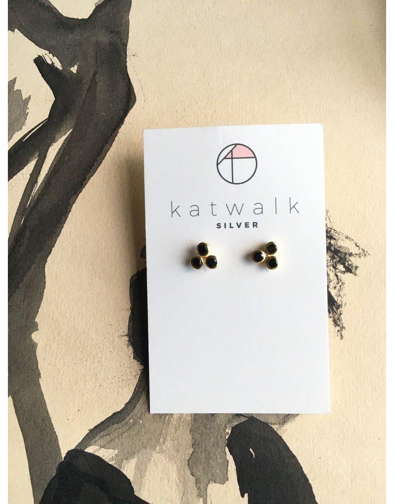 Katwalk Zilver Verguld zilver oorstekers - 3 stenen in rozet - Zwart