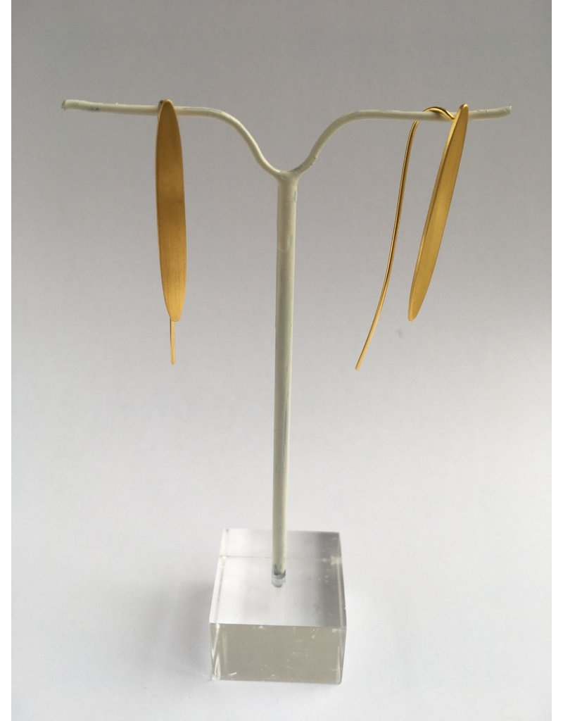 Katwalk Zilver Verguld zilver oorhanger - lange ellips