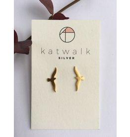 Katwalk Zilver Verguld zilver oorsteker - vogel in vlucht